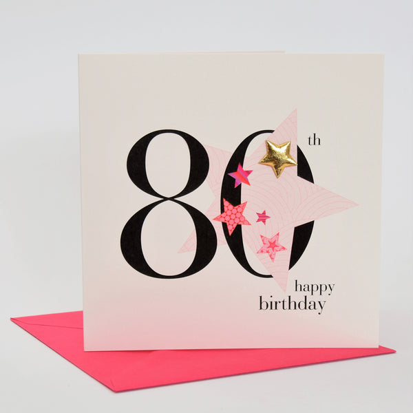 Birthday Card, Pink Star, Happy 80th Birthday, Embellished with a padded star