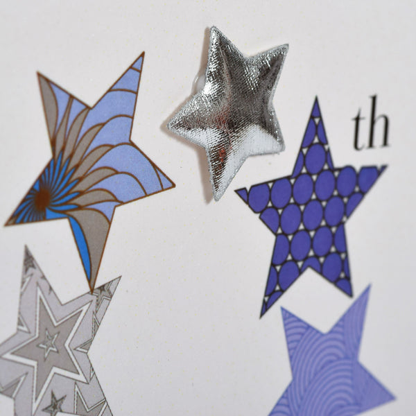 Birthday Card, Blue Stars, Happy 40th Birthday, Embellished with a padded star