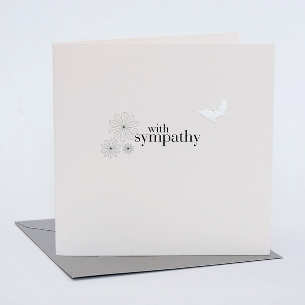 Sympathy Card, Sorry Thinking of you, White Flowers fabric butterfly Embellished