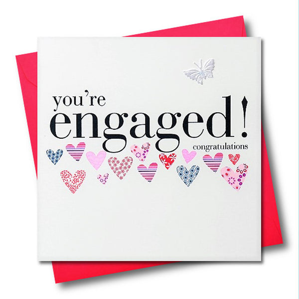 Wedding Engagement Card, Pink Hearts, fabric butterfly Embellished