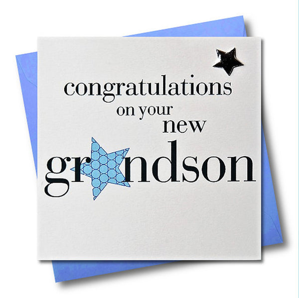 Congratulations on your Grandson Card, Blue Star, Embellished with a padded star