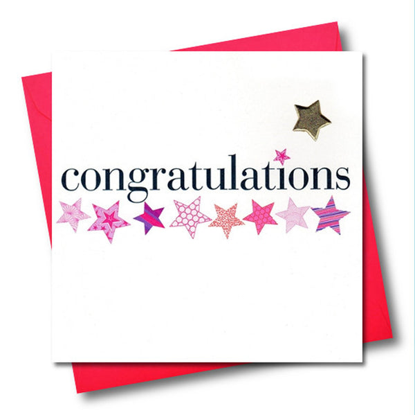 Congratulations Card, Pink Stars, Embellished with a padded star
