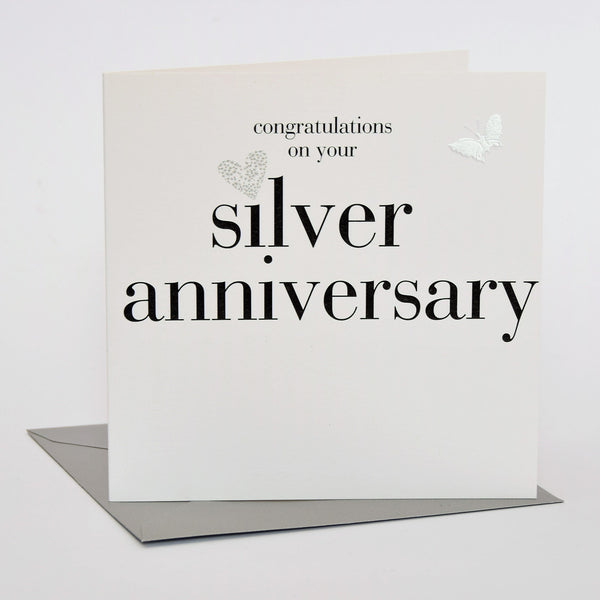Silver Wedding Anniversary Card, Silver Heart, fabric butterfly Embellished
