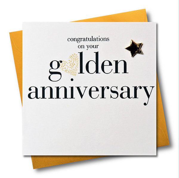 Golden Wedding Anniversary Card, Gold Heart, Embellished with a padded star