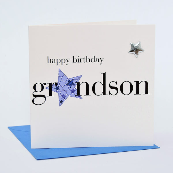 Birthday Card, Blue Star, Grandson, Embellished with a padded star