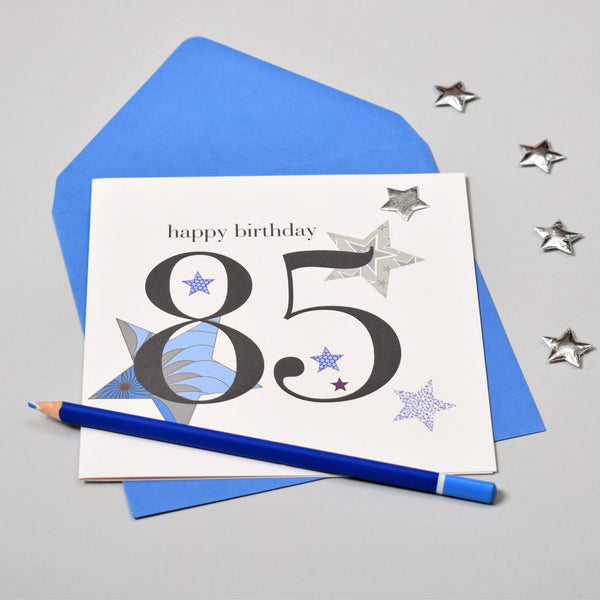 Birthday Card, Blue Stars, Happy 85th Birthday, Embellished with a padded star