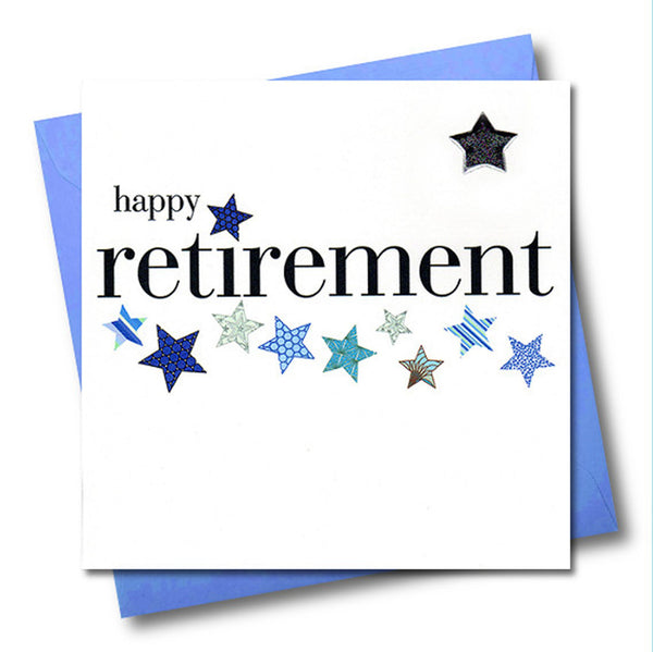 Good Luck Retirement Card, Blue Stars, Embellished with a padded star