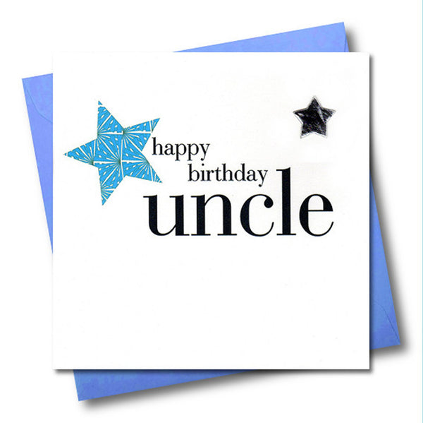 Birthday Card, Blue Star, Happy Birthday Uncle, Embellished with a padded star