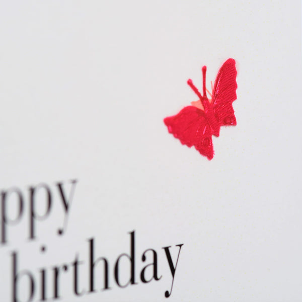 Birthday Card, Heart, Happy Birthday Niece, embellished with a fabric butterfly