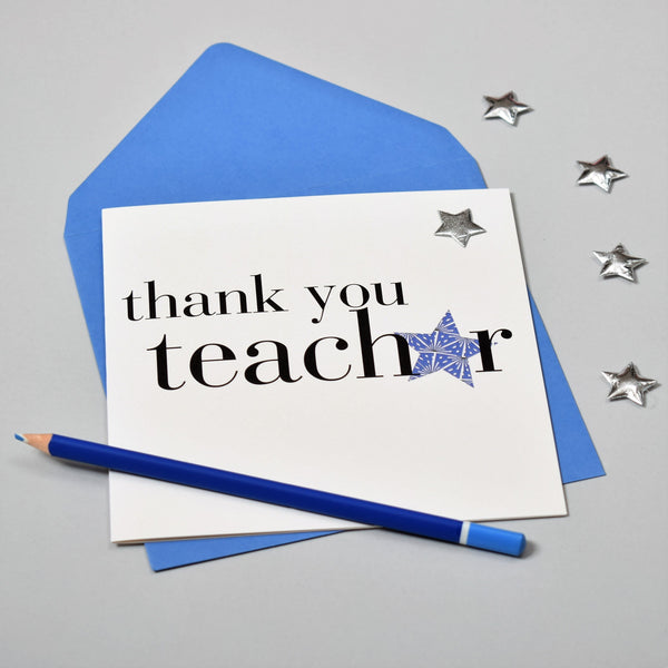Thank You Teacher Card, Blue Star, Embellished with a padded star