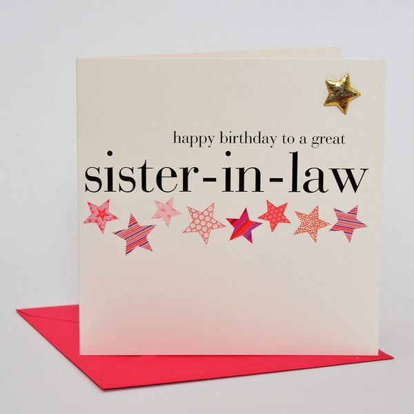 Birthday Card, Pink Stars, sister-in-law, Embellished with a padded star
