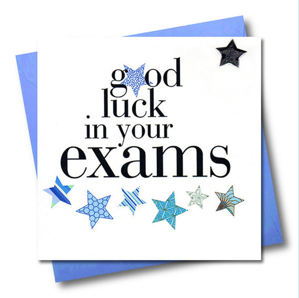 Exam Good Luck Card, Blue Stars, Embellished with a padded star