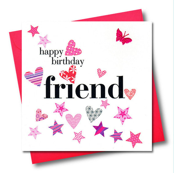 Birthday Card, Friend, Pink Hearts and Stars, fabric butterfly Embellished