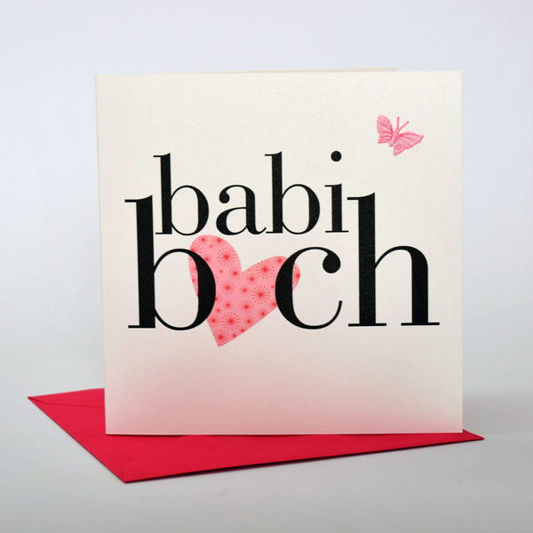 Welsh Baby Card, Babi Bach, Baby Girl - Pink Heart, fabric butterfly embellished