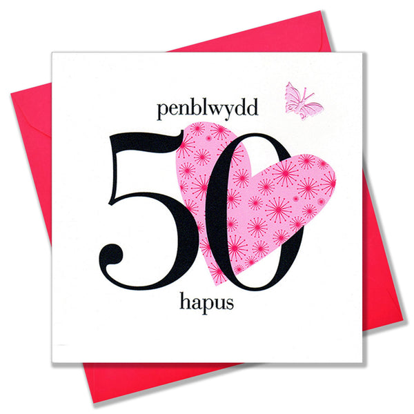 Welsh 50th Birthday Card, Penblwydd Hapus, Heart, fabric butterfly embellished