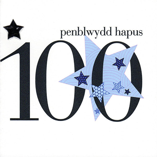 Welsh 100th Birthday Card, Penblwydd Hapus, Blue Stars, padded star embellished