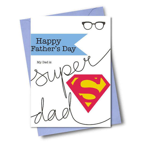 Father's Day Card, Super Dad, Happy Father's Day, See through acetate window