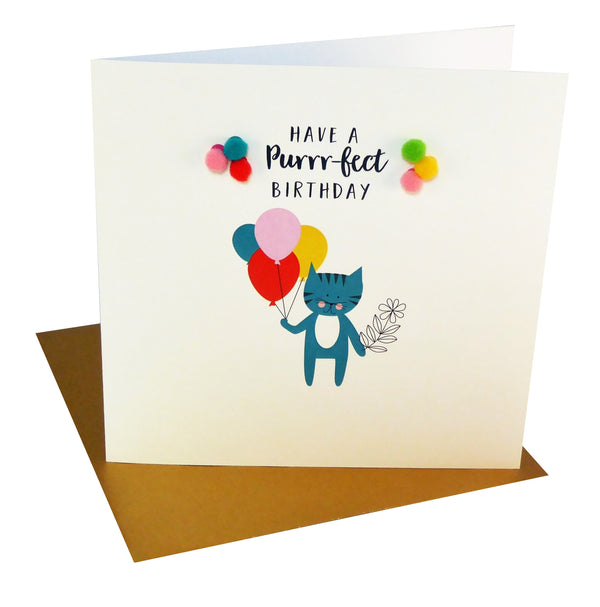 Everyday Card, Cat with Balloons, Purrr-fect Birthday, Embellished with pompoms