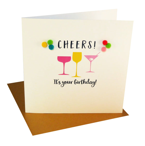 Everyday Card, Cocktail Glasses, Cheers! , Embellished with colourful pompoms