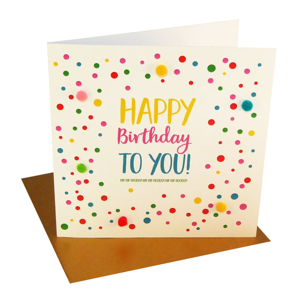 Everyday Card, Spots and Dots, Happy Birthday, Embellished with pompoms