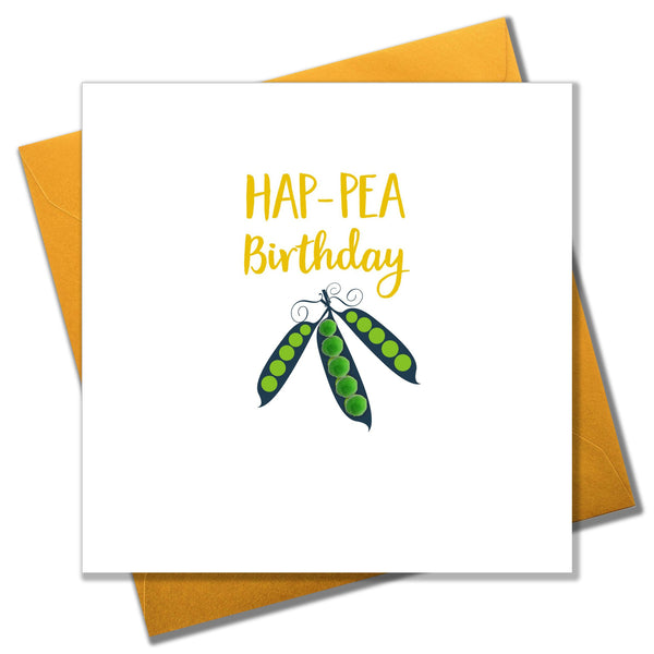 Everyday Card, Pea Pods, Hap-pea Birthday, Embellished with colourful pompoms