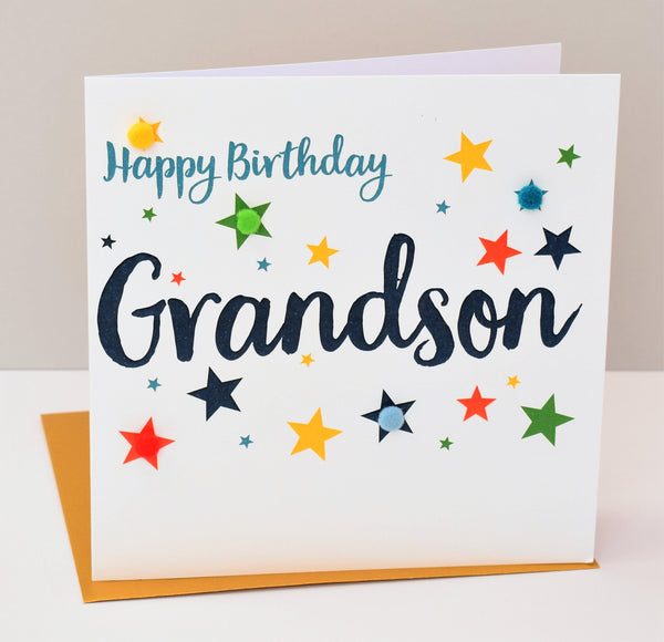 Birthday Card, Stars, Happy Birthday, Grandson, Embellished with pompoms