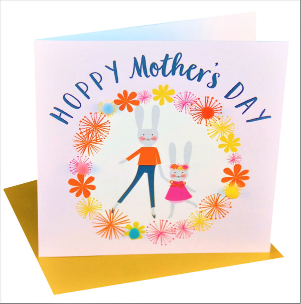 Mother's Day Card, Mummy Bunny, Girl Pink, Embellished with colourful pompoms