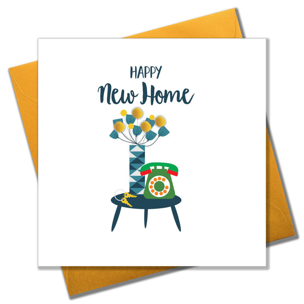 New Home Card, Flowers & Phone, New Home, Embellished with colourful pompoms