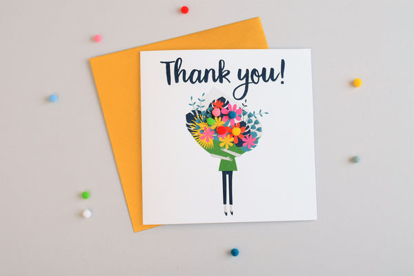 Thank You Card, Flowers Bouquet, Thank You, Embellished with colourful pompoms