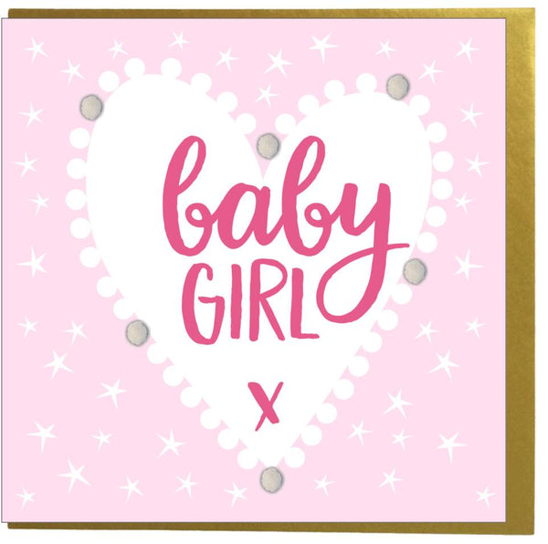 Baby Card, Pink Heart, Baby Girl, Embellished with colourful pompoms