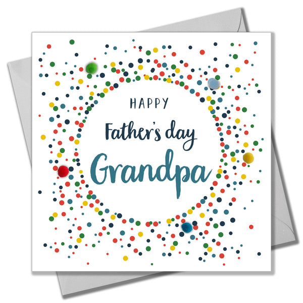 Father's Day Card, Colour Dots, Grandpa, Embellished with colourful pompoms