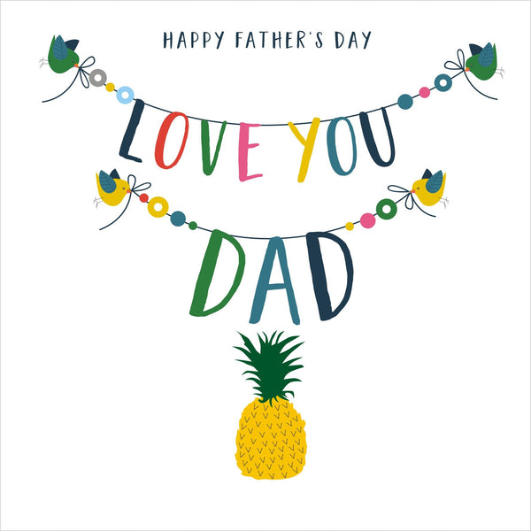 Father's Day Card, Pineapple, Love you Dad, Embellished with colourful pompoms