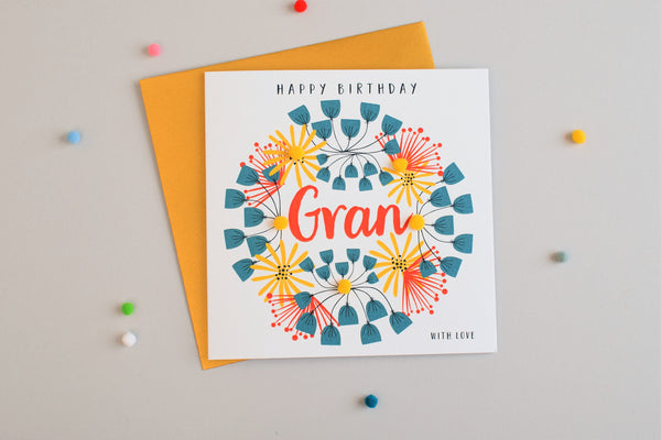 Birthday Card, Floral Pattern, Gran with Love, Embellished with pompoms