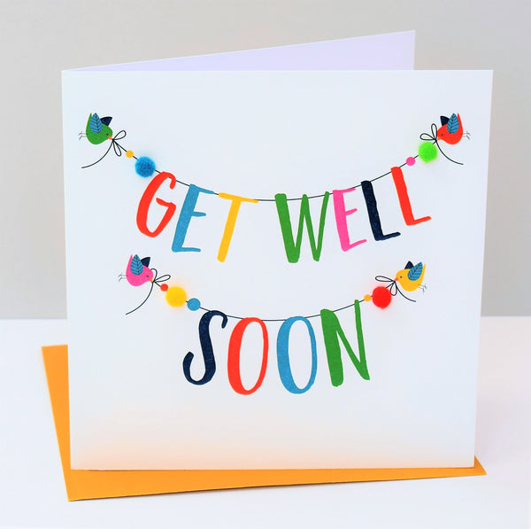 Get Well Card, Banner, Get Well Soon, Embellished with colourful pompoms