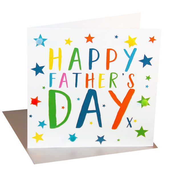 Father's Day Card, Stars, Happy Father's Day, Embellished with colourful pompoms
