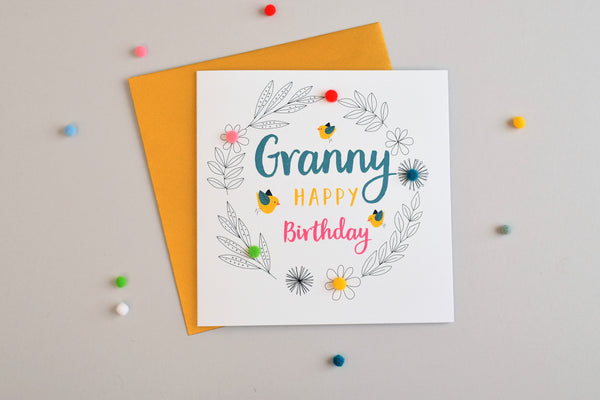 Birthday Card, Birds and Flowers, Granny, Embellished with pompoms