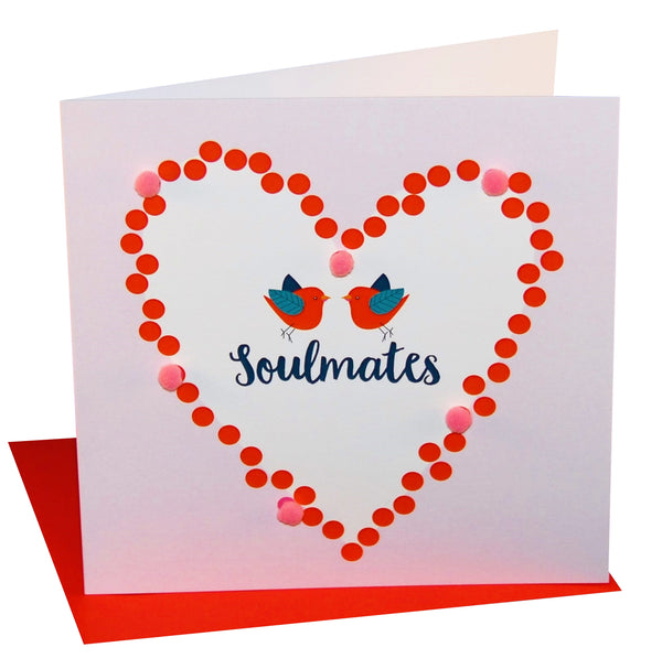 Valentine's Day Card, Love Birds, Soulmates, Embellished with colourful pompoms