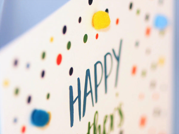 Father's Day Card, Dotty, Happy Father's Day, Embellished with colourful pompoms