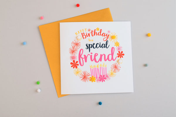 Birthday Card, Candles, Special Friend, Embellished with pompoms