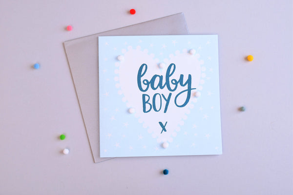 Baby Card, Blue Heart, Baby Boy, Embellished with colourful pompoms