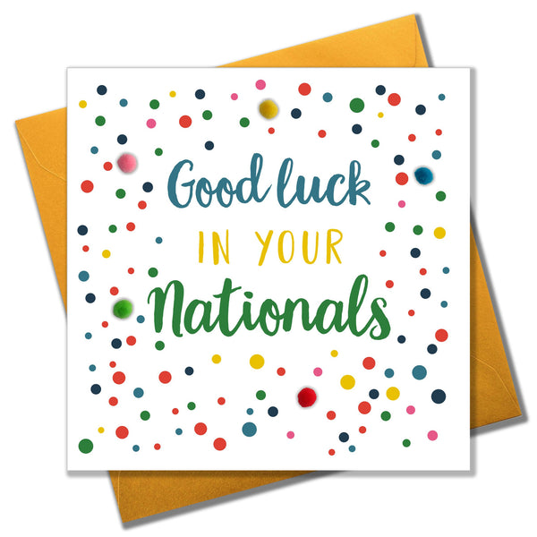 Good Luck in Nationals Card, Dots, Embellished with pompoms