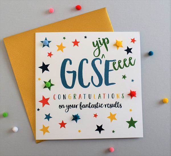 Congratulations Card, Star, GCS(yip)E(eeee) results, Embellished with pompoms