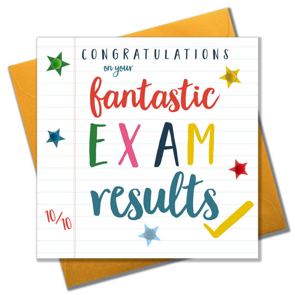 Exam Congratulations Card, Star, fantastic results, Embellished with pompoms