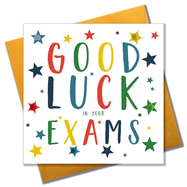 Exam Good Luck Card, Stars, Embellished with pompoms