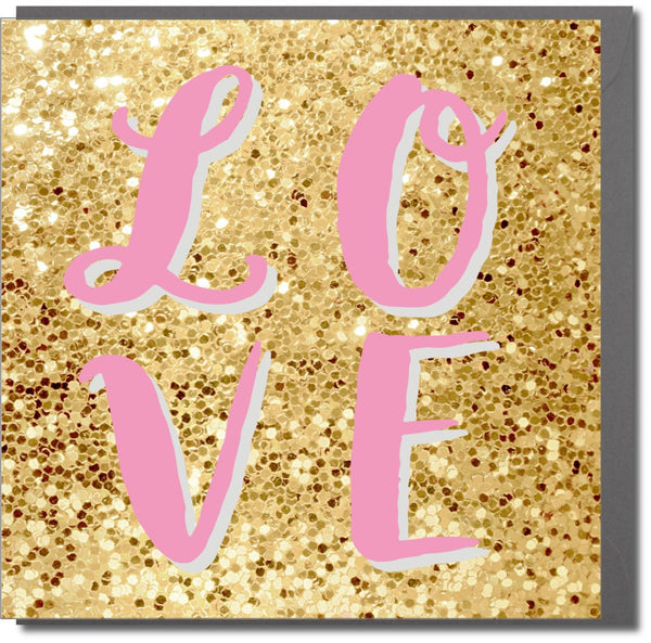 Valentine's Day Card, glitter background, LOVE