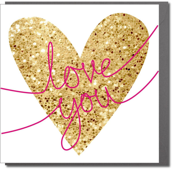 Valentine's Day Card, Love You, Glittering Heart
