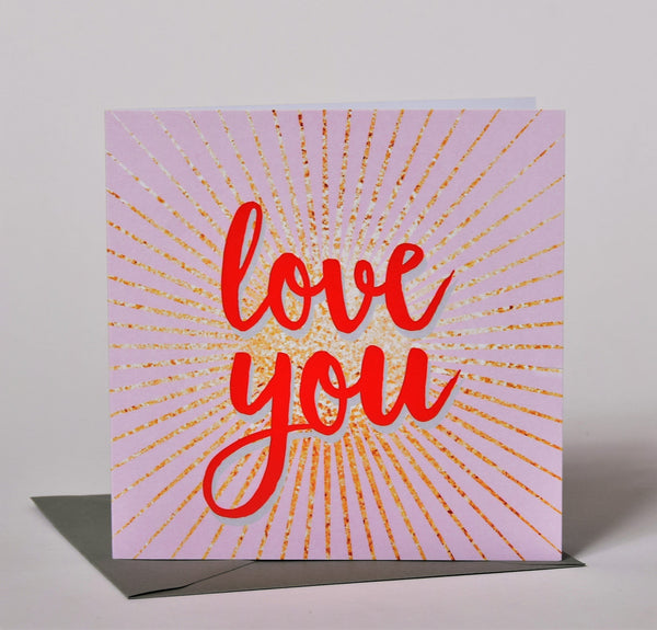 Valentine's Day Card, explosion with pink background, Love You