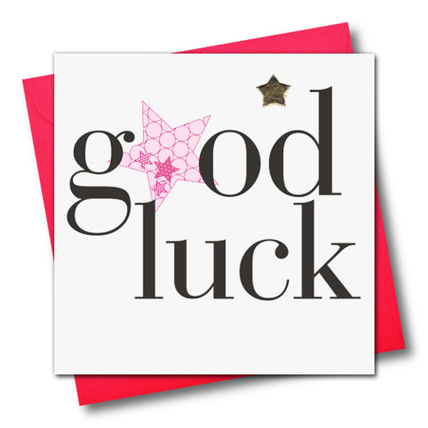 Good Luck Card, Pink Star, Embellished with a padded star