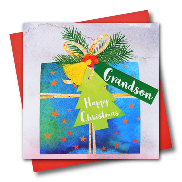 Christmas Card, Present, Grandson, Happy Christmas, Tassel Embellished