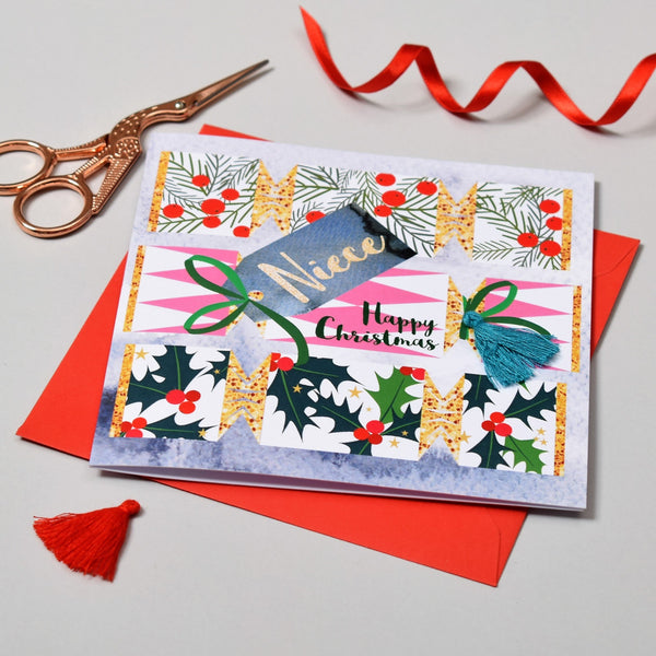 Christmas Card, Cracker, Niece, Happy Christmas, Tassel Embellished